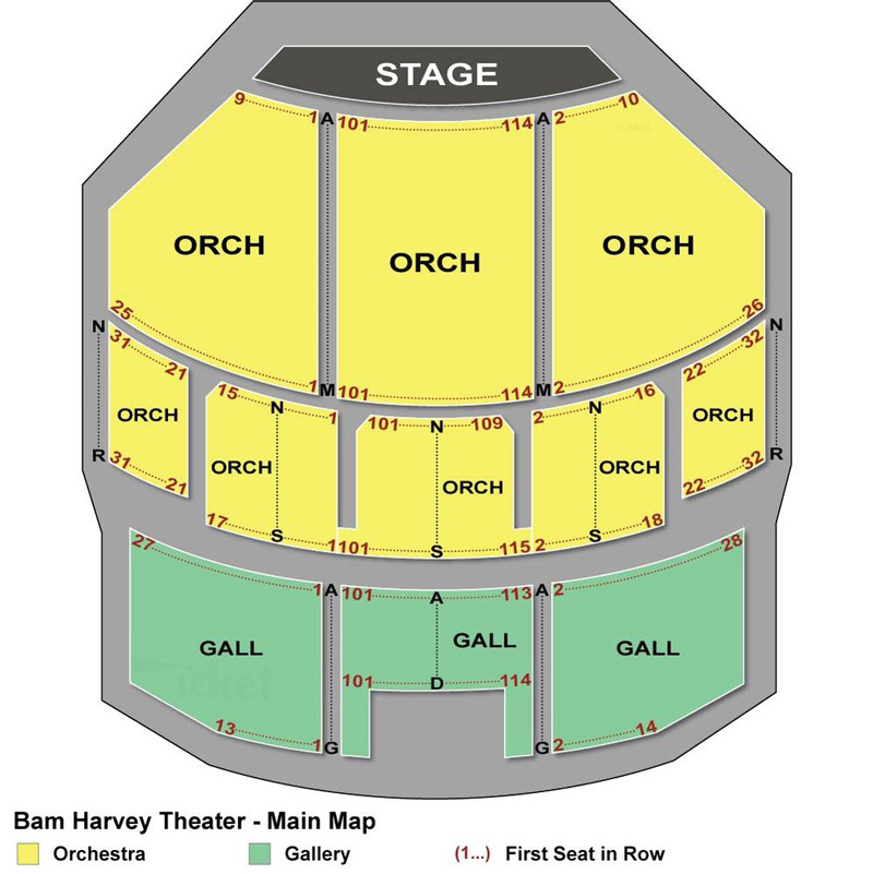 BAM- Harvey Theater Seating Chart
