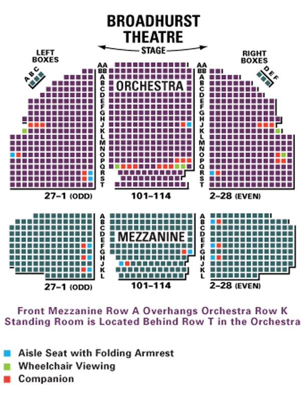 Broadhurst Theatre Seating Chart