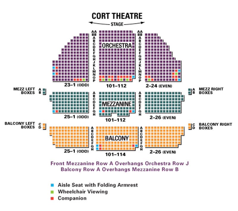 Cort theatre seating chart theatre in new york