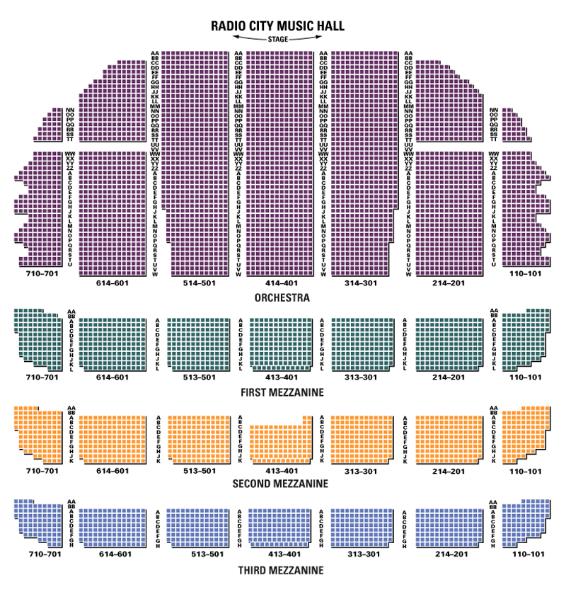Radio city music hall seating chart theatre in new york