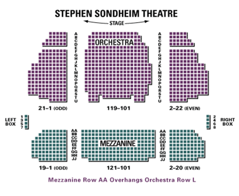 Stephen sondheim theatre seating chart theatre in new york