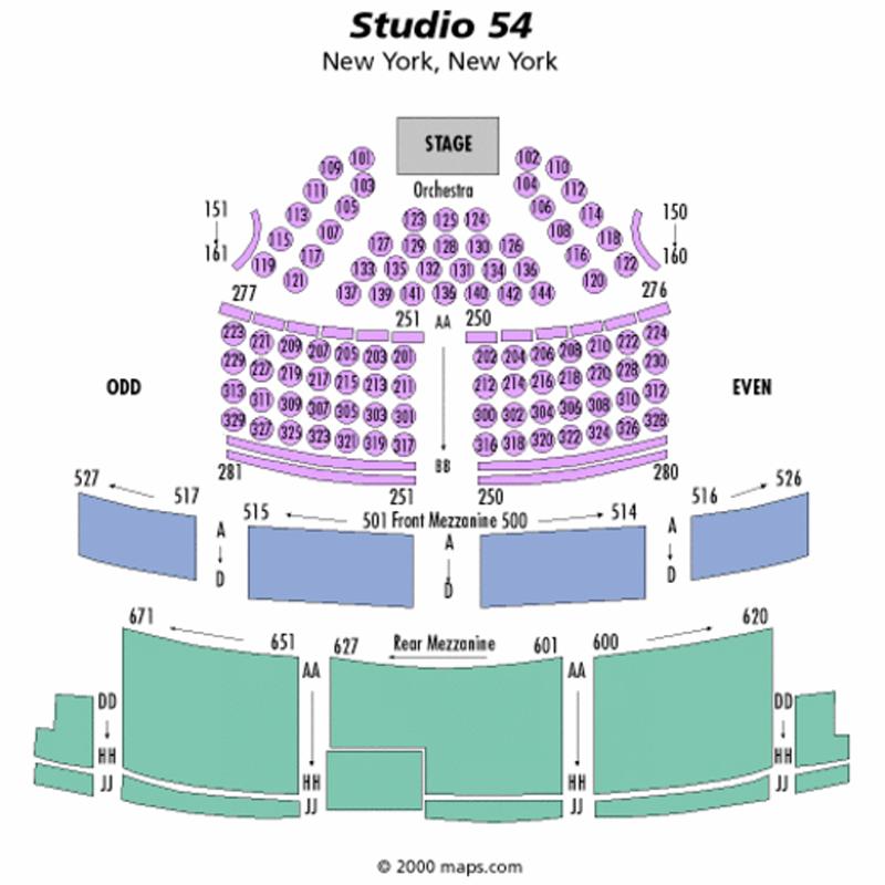 Studio 54 Seating Chart