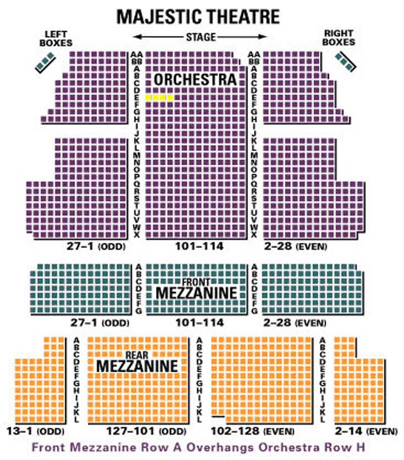 The Majestic Theatre Seating Chart Theatre In New York