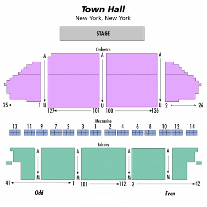 The town hall seating chart theatre in new york